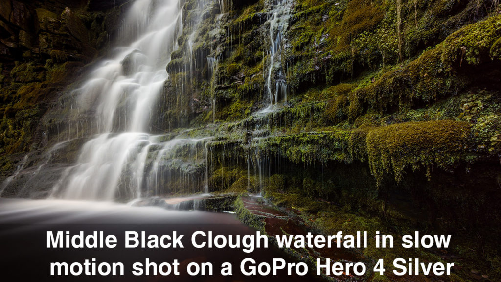 Middle Black Clough Waterfall slow motion video shot on a GoPro Hero 4 Silver
