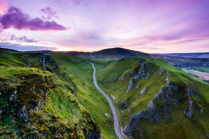 Winnats Pass in the Peak District UK at sunset