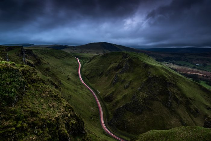 HDR light trails at sunset on a moody evening at Winnats Pass