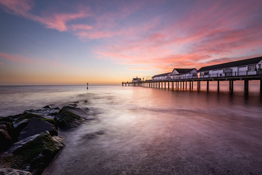A colourful sunrise and long exposyre at Southwold Pier in Suffolk, UK