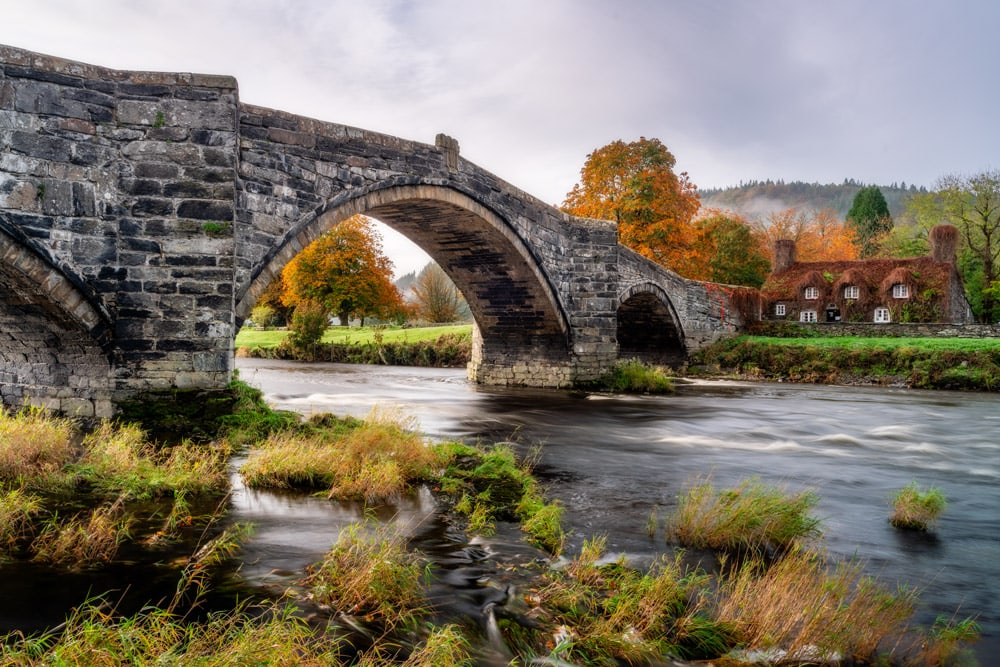 Llanrwst Bridge in Snowdonia in autumn