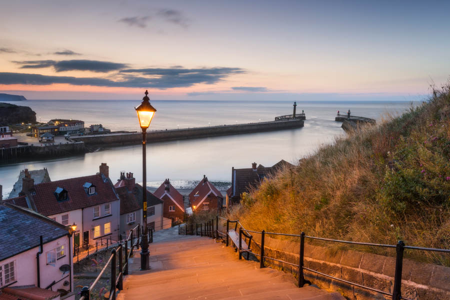 The view over Whitby Harbour and the West Pier from the 199 steps