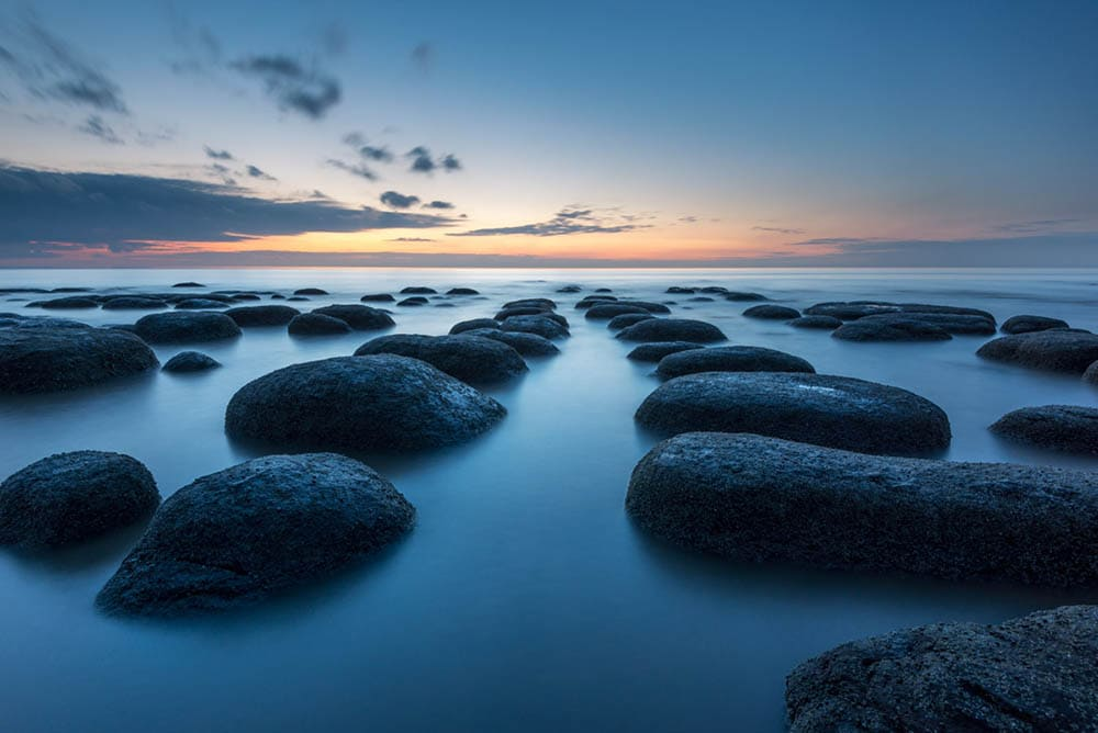Long exposure at Old Hunstanton Beach during blue hour
