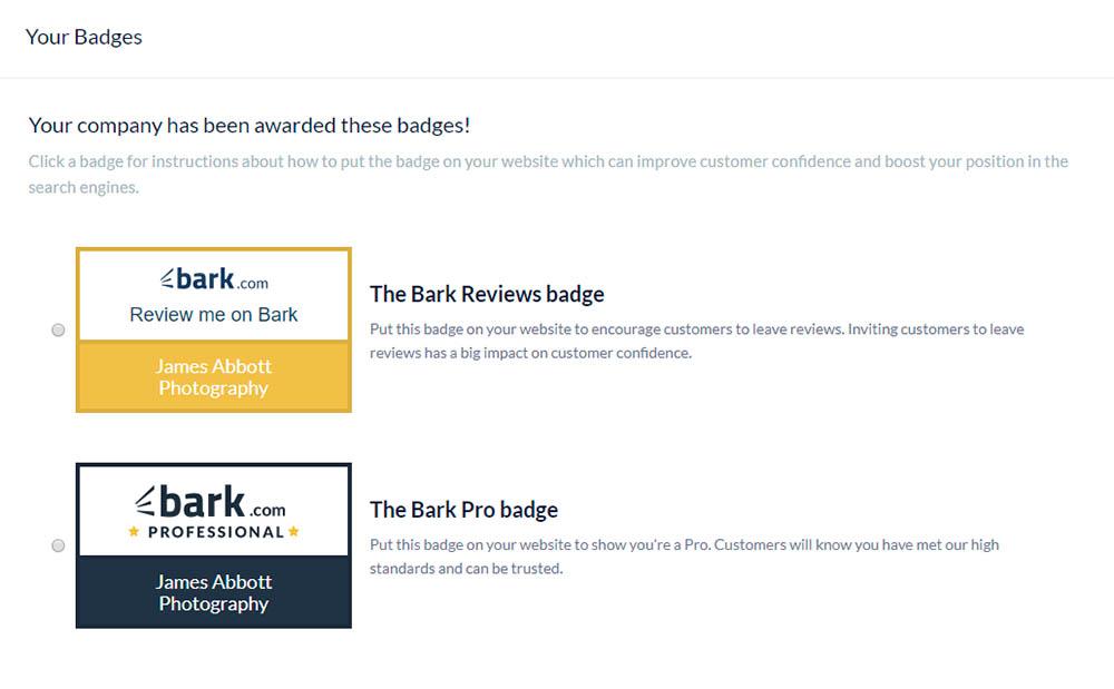 Bark.com badges