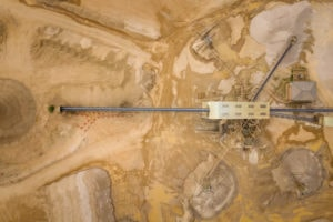 Sand and gravel processing plant from above shot with a DJI Mavic 2 Pro