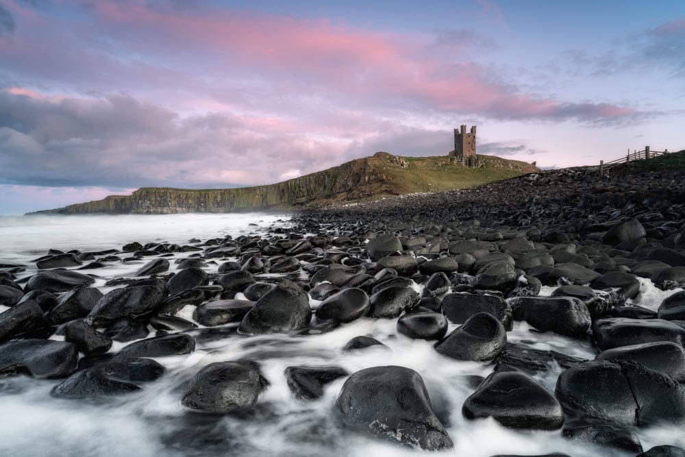 Long exposure of Dunstanburgh Castle shot with the Sony FE 20mm f/1.8