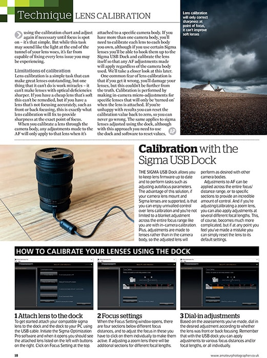 Amateur Photographer magazine - lens calibration