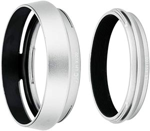 JJC Silver Dedicated Lens Adapter and Hood for Fujifilm X100 series cameras