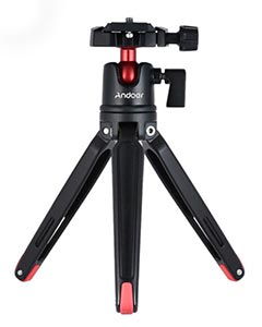 Andoer Tabletop Travel Tripod with Ballhead Quick Release Plate