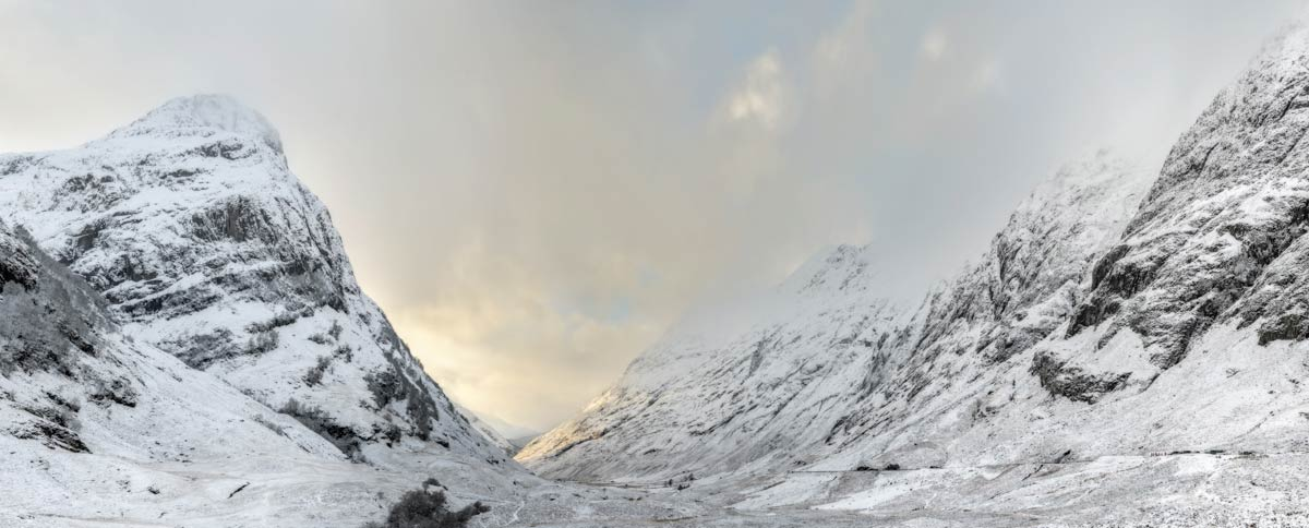 Snow covered Glencoe Pass in winter