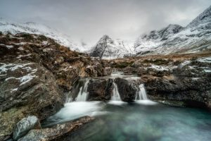 Long exposure of the Fairy Pools on the Isle of Skye in Scotland in winter