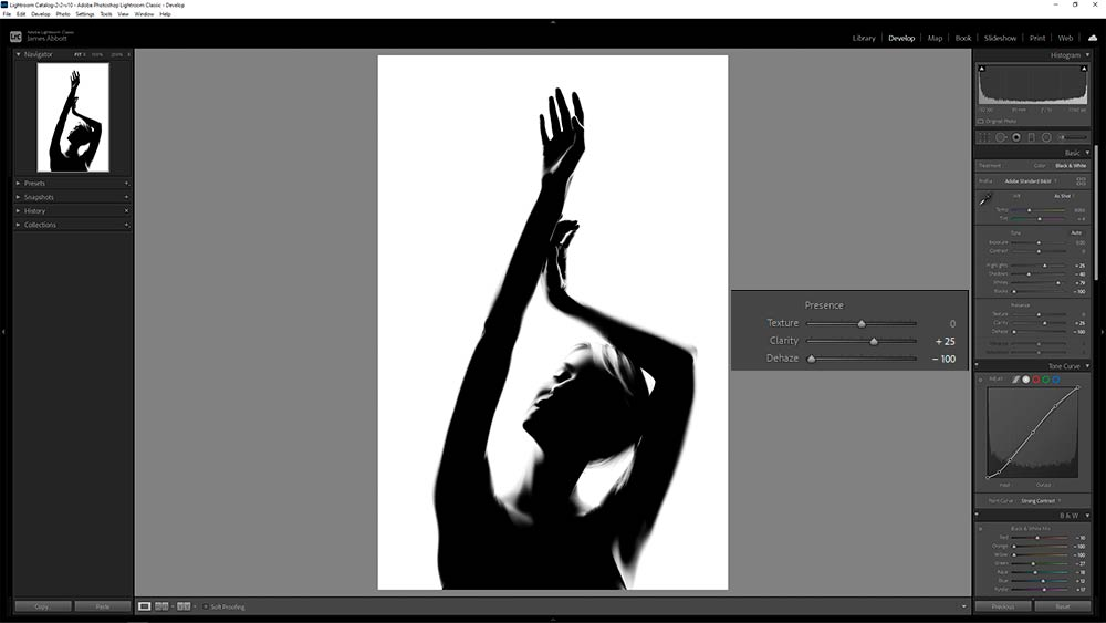 How to shoot studio silhouette portraits Lightroom editing